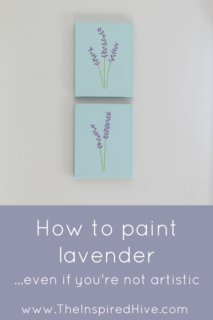 Easy DIY painted lavender canvas. Simple four step tutorial on how to paint lavender even if you're not artistic.