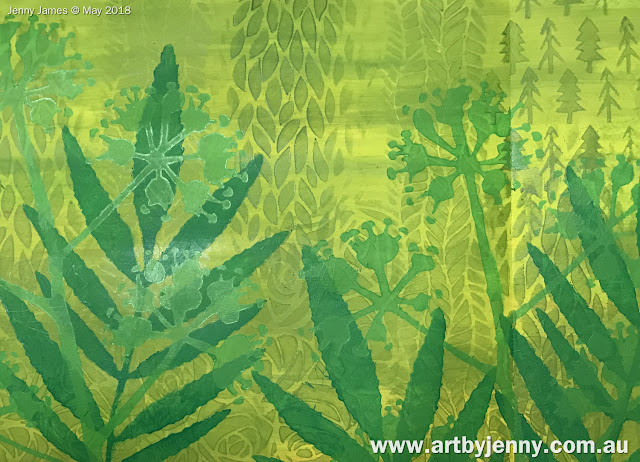 creating a garden using Dylusions acrylic paint with stencils