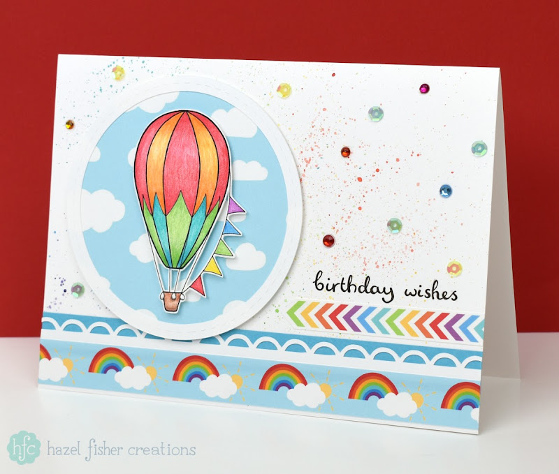 Hot Air Balloon handmade birthday card - Hazel Fisher Creations