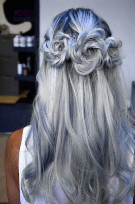 gray and blue rose braids hairstyle