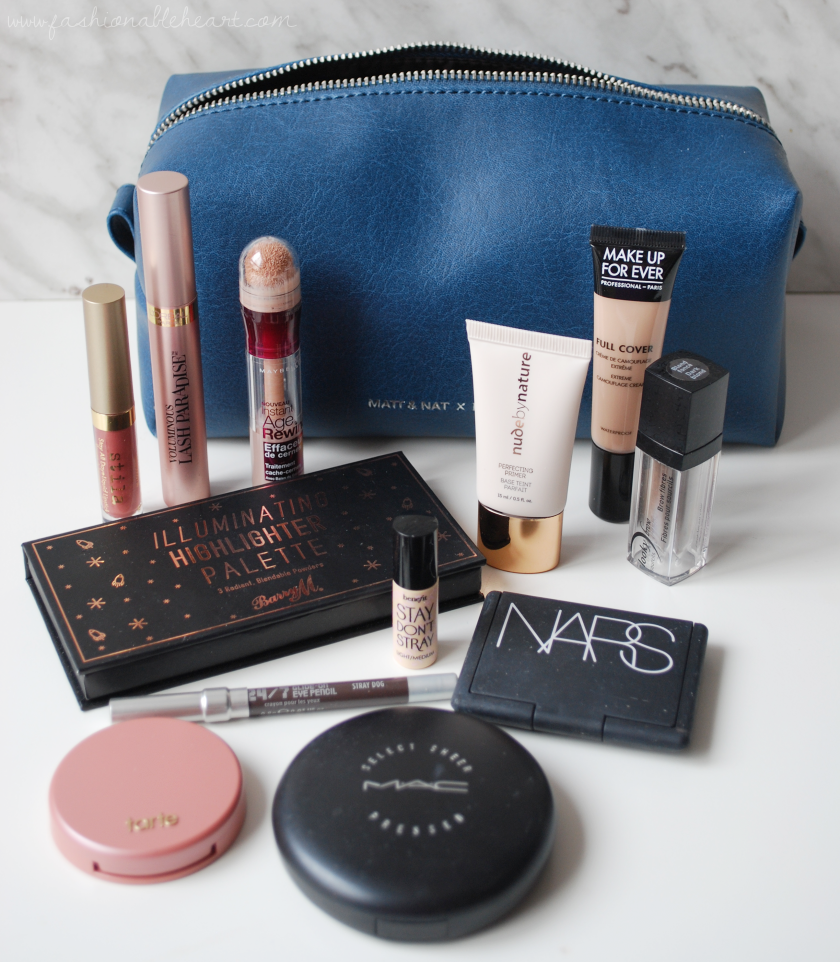 bbloggers, bbloggerca, beauty blog, what i packed, anniversary, trip, vacation, beauty, skincare, makeup, perfume, l'occitane, matt and nat, blair, moonstone, matt & nat, vegan leather, what's in my bag, stila, stay all day, liquid lipstick, splendore shimmer, l'oreal, lash paradise, maybelline age rewind, nude by nature, perfecting primer, barry m, highlighter palette, mufe, make up for ever, full cover concealer, looky brow, brow fibers, fibres, stay don't stray, benefit, nars, bellissima, urban decay, eyeliner, mac, sheer pressed powder, tarte, amazonian clay, paaarty