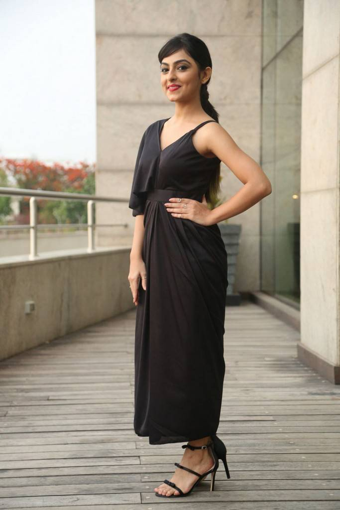 Beautiful Chennai Girl Pooja K Doshi Photo Shoot In Long Black Dress
