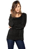 Moda Suéter Calvin Klein Jeans Glitter Preto