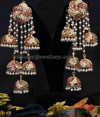 Three Jhumka Hanging Heavy Earrings