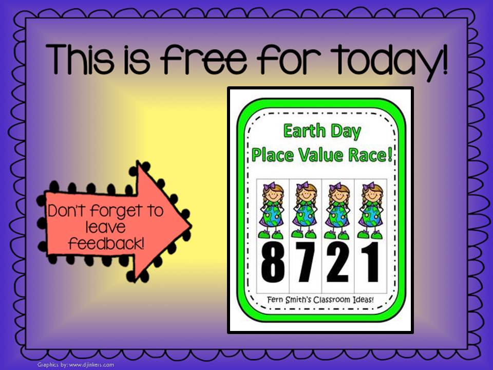 Fern Smith's Classroom Ideas Throwback Thursday Trio FREEBIES - Place Value Race Game Earth Day Themed