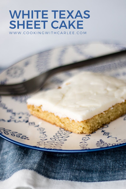 Make homemade white cake and white frosting in the simplest possible way! This cake is made like the chocolate Texas sheet cake, all in saucepans, but there's no chocolate in site.