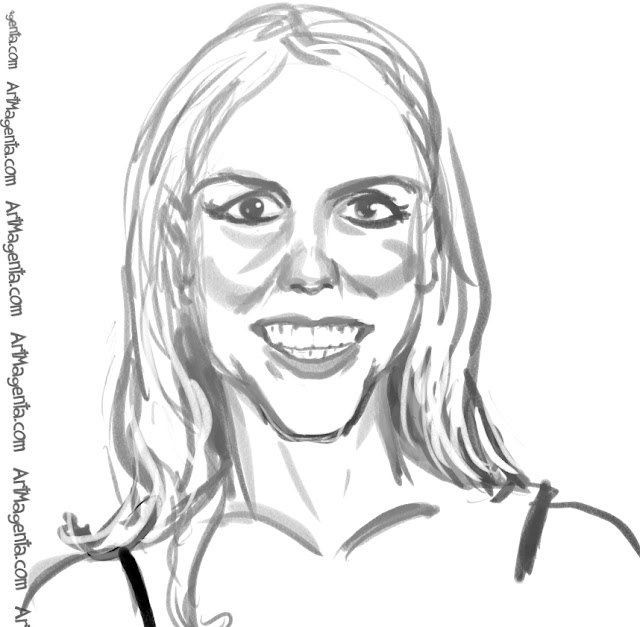 Britney Spears caricature cartoon. Portrait drawing by caricaturist Artmagenta.