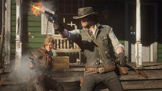 Rockstar Games Red Dead Redemption 2 Gameplay Trailer Stills blasting their way out of town