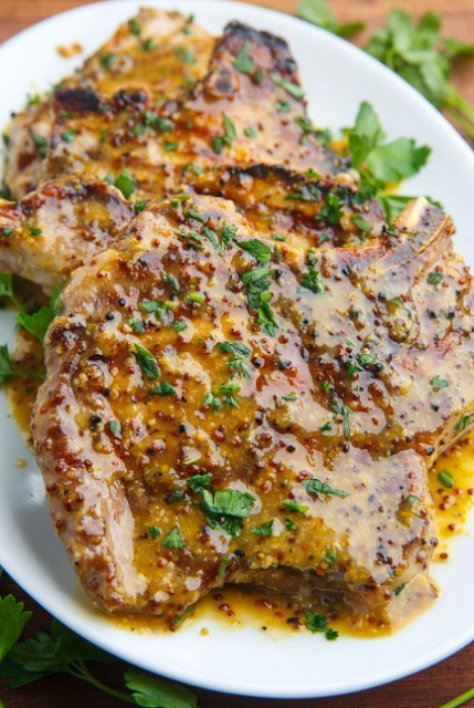 Honey Mustard Grilled Pork Chops