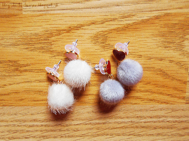 Heart Shape And Furry Ball Stud Drop Earrings