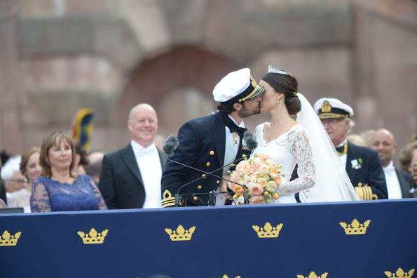Prince Carl Philip And Sofia Hellqvist On Balcony Of The Royal Palace
