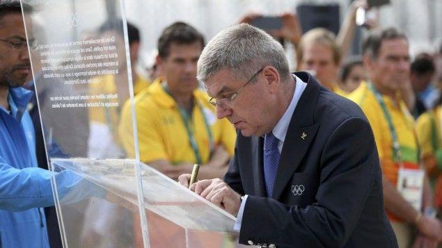 Presidente del Comité Olímpico Internacional, Thomas Bach inaugura un monumento en honor a los atletas olímpicos israelíes asesinados por palestinos