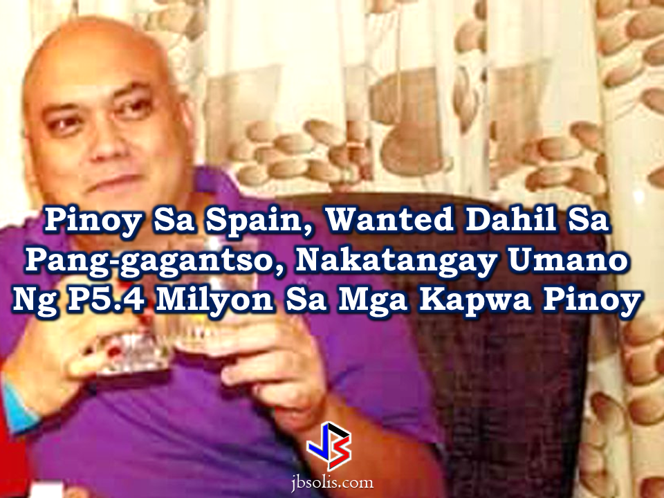 """The Philippine Embassy in Spain called for information on the whereabouts of Filipino fugitive Isidro Lucas Rodriguez, who is facing charges defrauding about 90,000 euros or P5.4 million from his fellow Filipinos.  Lucas Rodriguez has been roaming the cities in Spain but will no longer be able to get through all exit points in Spain, according to Consul Ralf Roldan.  Rodriguez is said to victimized Filipinos in Granada, Madrid, Valencia and Barcelona, promising tourist visas for their families in the Philippines and high investment returns from apartments that he reportedly leased to students and foreigners.  A client who requested to with hold his/her identity said Rodriguez offered to fix her family's tourist visas to be able to come to Spain, for a sum of 5,450 Euros or P325,000.  Rodriguez claimed that he knew top government officials at the Spanish Embassy in the Philippines and even accompanied the victim in applying for a bank loan.   Another victim by the name""""Mayte"""" said that she was convinced by Rodriguez to invest her entire savings in his apartment-for-rent business amounting to 2,000-euro. The suspect, as victims said appeared """"refined, caring and well-versed in English"""".    Sponsored Links Another victim, Linda, said that Rodriguez seemingly used hypnotism on her.  Some victims reported that Rodriguez has come in contact with them through a social media account under the name, Lucas Rodriguez, whose profile picture showed an apartment unit.   According to reports, Rodriguez also swindled around 200,000 Euros or P12 million from foreigners, who were looking for rooms and apartment units in Barcelona through Facebook and AirBnb.  He also has a long history of estafa, illegal recruitment, and human trafficking.  An expats alliance, Migrante said that Rodriguez has been found guilty of illegal recruitment in the Philippines. Numerous pending cases of syndicated estafa and large-scale illegal recruitment and trafficking in persons are filed against him by s"""