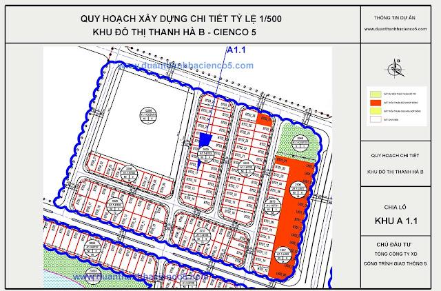Sơ đồ khu A1.1 dự án Thanh Hà Cienco 5 Hà Đông