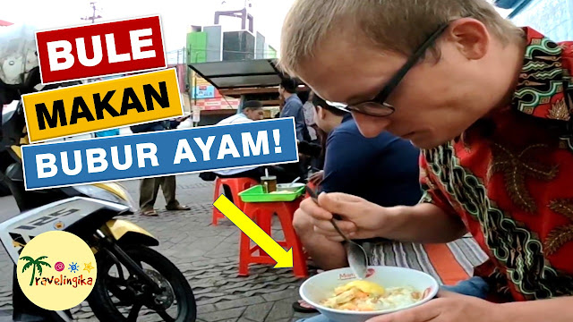 foreigner eats indonesian chicken congee