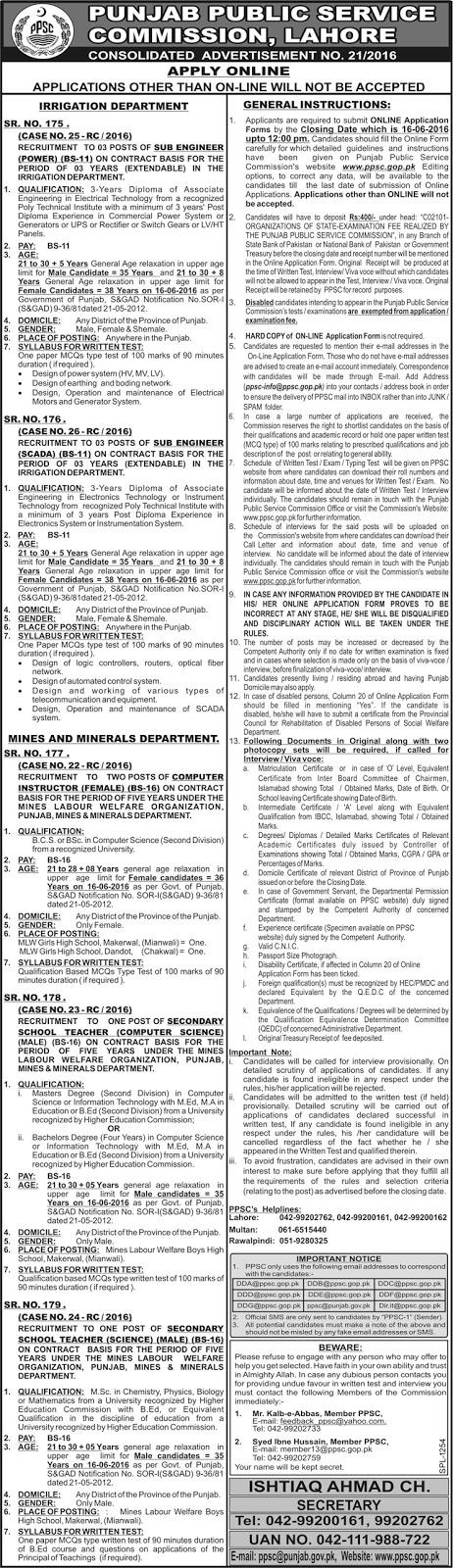 Govt Jobs in Pakistan for Teachers & Engineers PPSC  Jobs 2016