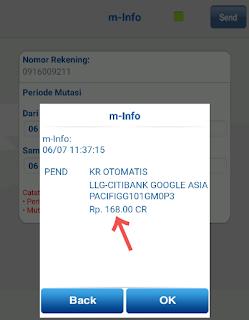 Kode Verifikasi Akun Adsense IDR Via Transfer BCA, BRI, MANDIRI