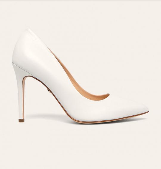 Solo Femme - Stilettos cu toc inalt eleganti albi din piele naturala frumosi
