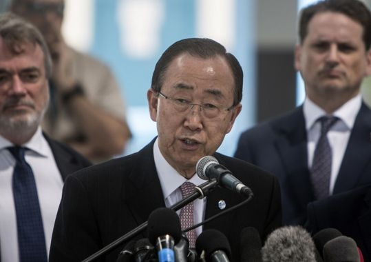 Secretario General de la ONU, Ban Ki-moon, habla durante una conferencia de prensa en una escuela de las Naciones Unidas en la ciudad de Gaza el 28 de junio de 2016. (Foto: AFP / Mahmud Hams)