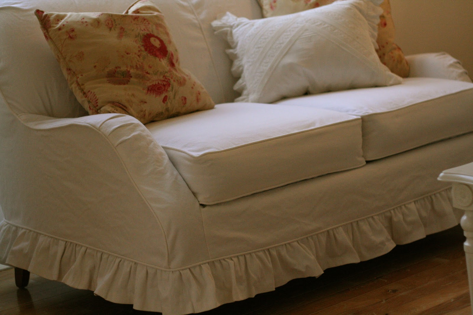 Ruffled Sofa Slipcover 3 Piece Set With Chaise Custom Slipcovers By Shelley White Denim Loveseat
