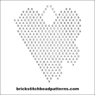 Free brick stitch seed bead weaving earring pattern letter chart