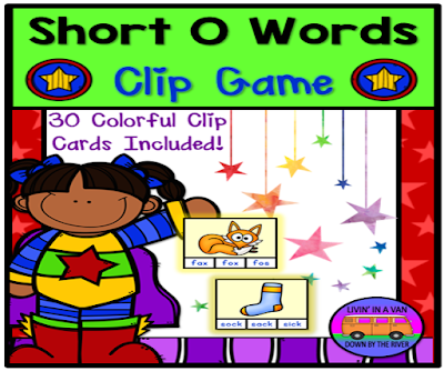 SHORT O WORDS, SHORT VOWEL GAMES, CLIP GAMES, LITERACY CENTERS