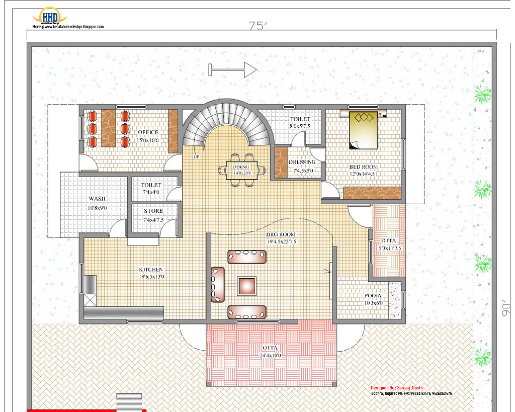 Duplex house plan and elevation 4217 sq ft kerala for Hous plans