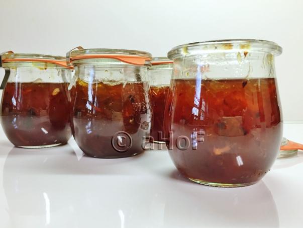 Rhubarb & Blood Orange Jam with only some jars sealed