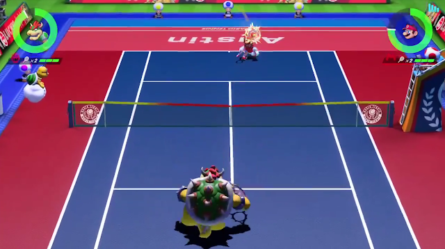 Mario Tennis Aces head shot body shot Bowser Mario hit in the face ball