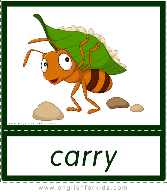 Carry (ant) - printable animal actions flashcards for English learners