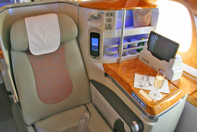 Business class seat aboard an Emirates A380