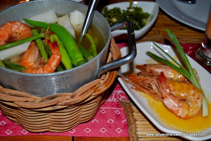 KaLui restaurant's Sinigang ni Kaka and garlic butter prawns