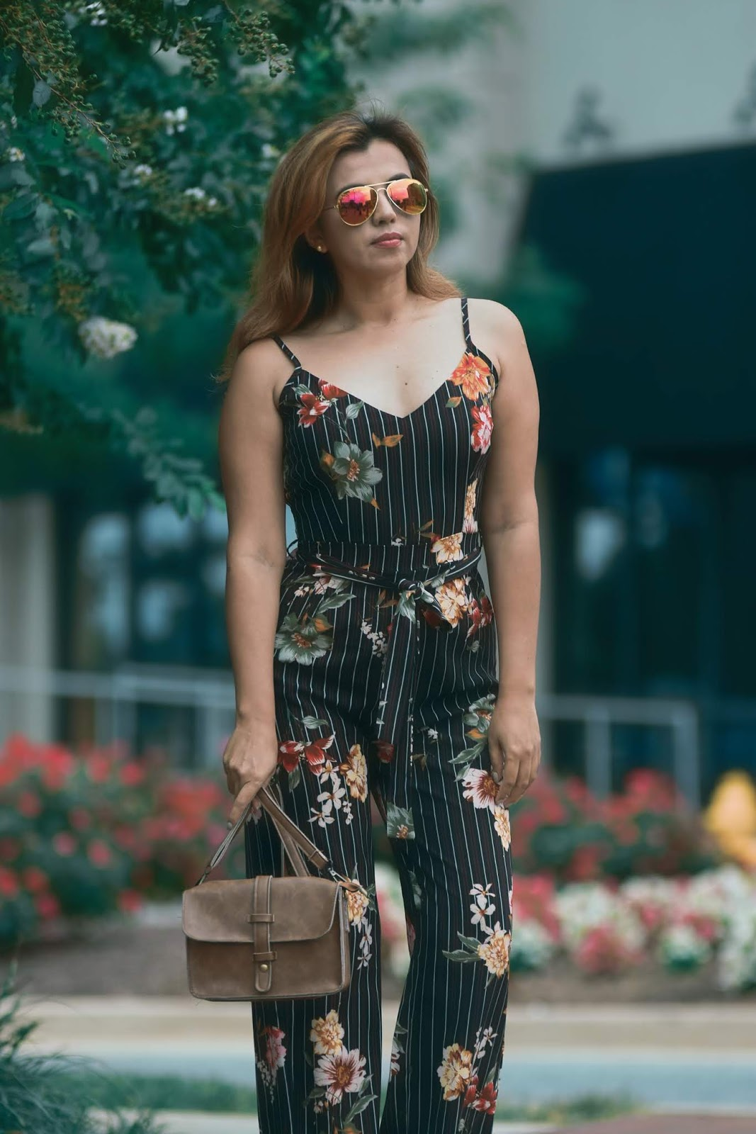 Striped Jumpsuit With Floral Print by Mari Estilo