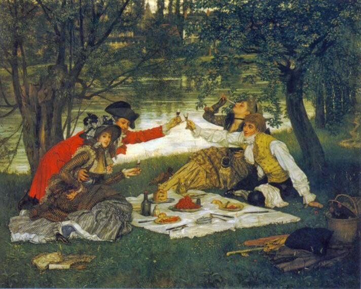 Quarteto em um Piquenique - As principais pinturas de James Tissot ~ Francês