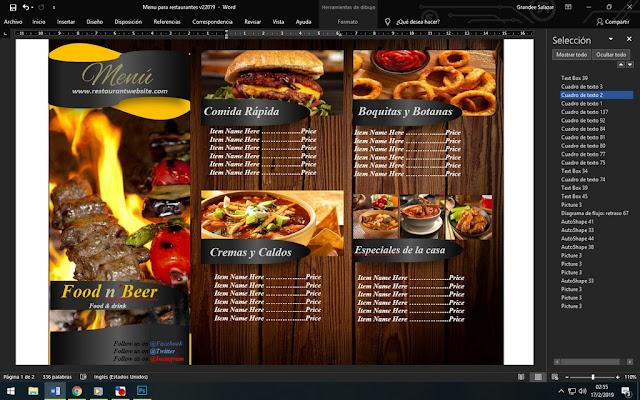 folletos para imprimir cartas de menu para restaurante