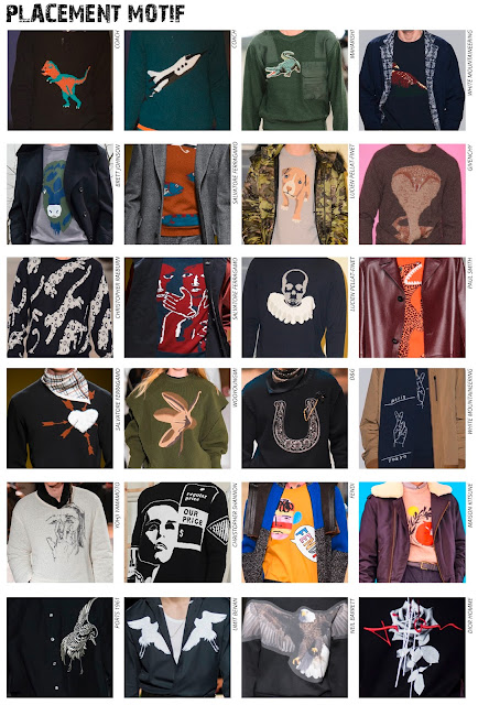 Textile Candy, www.textilecandy.blogspot.co.uk, www.textilecandy.com, Autumn/Winter 2016. A/W16, AW2016, Menswear, mens fashion, fashion trend, trend prediction, Menswear trend, print trend, textile trends, textile design, print design, graphic design, novelty knitwear, placement motif, placement graphic, animal jumper, conversational print, coach jumper, paul smith