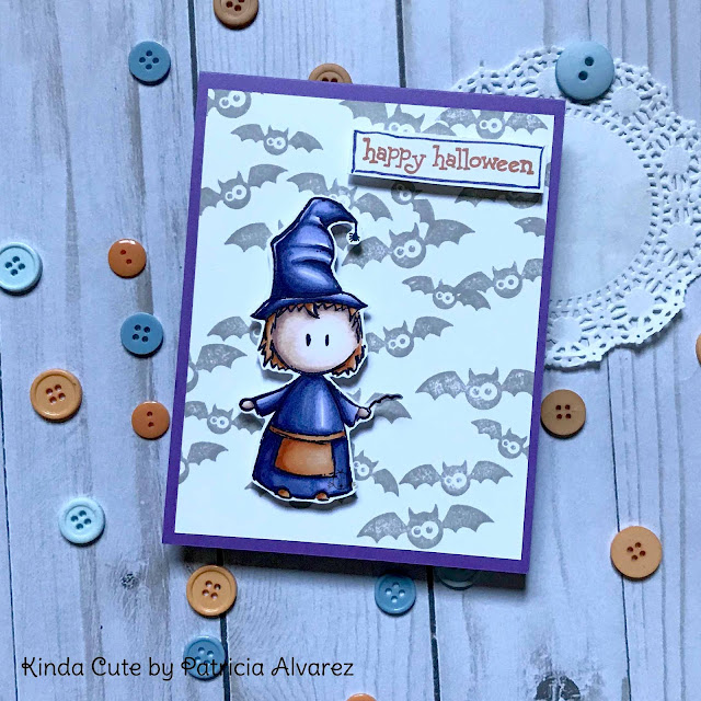 Happy Halloween card with a witch.