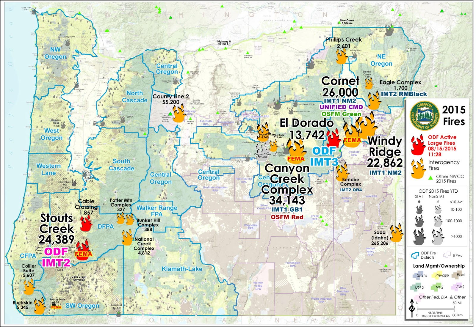 Large Wildfire Map.Wildfire Oregon Dept Of Forestry Large Fire Map