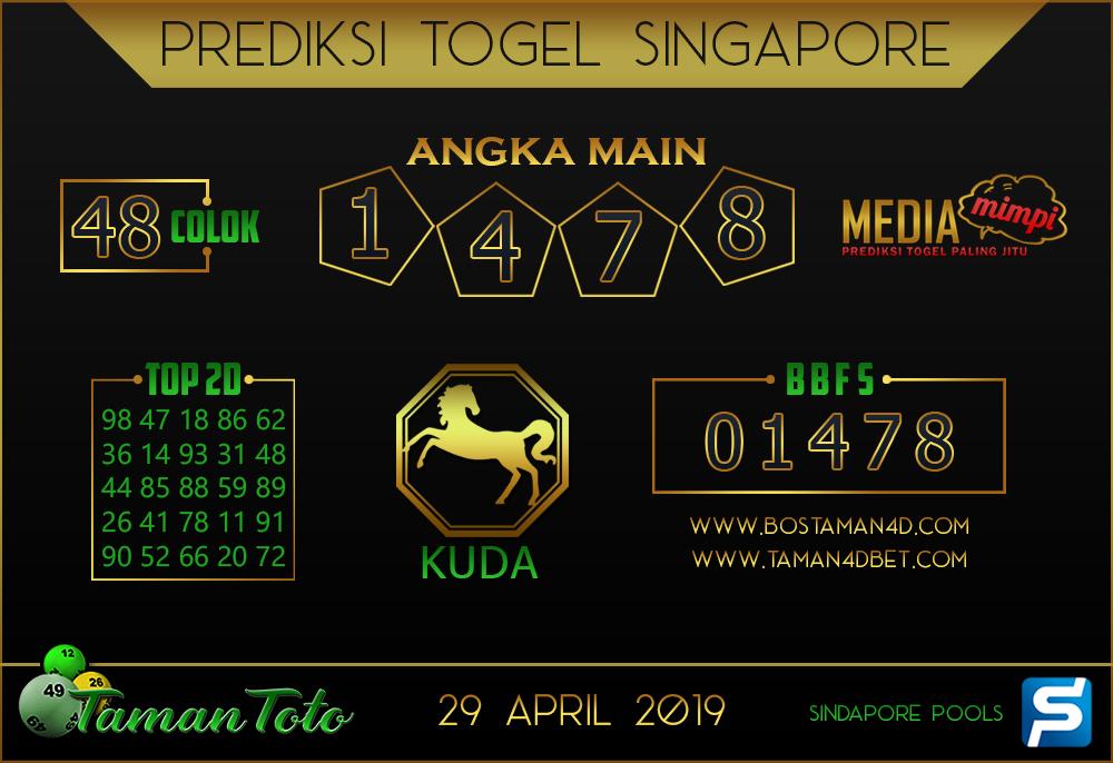 Prediksi Togel SINGAPORE TAMAN TOTO 29 APRIL 2019