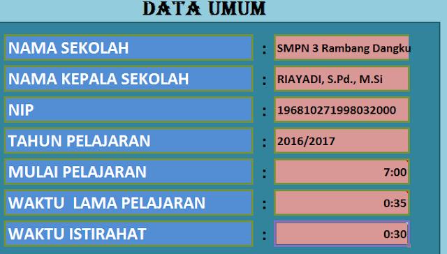 gambar menu Aplikasi Jadwal Pelajaran SD, SMP, SMA dan SMK Model Baru