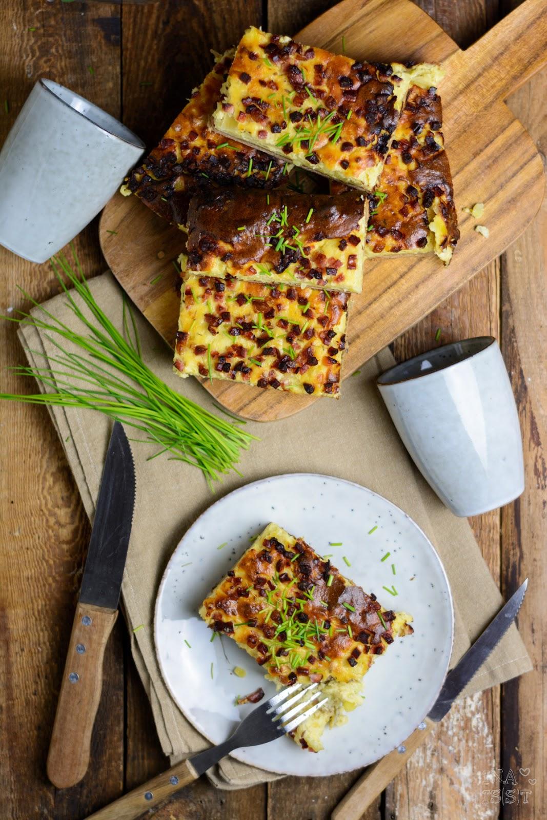 Hessicher Salzekuchen Rezept, Brotkuchen mit Kartoffeln und Speck vom Blech, Ina Is(s)t, Kartoffelkuchen