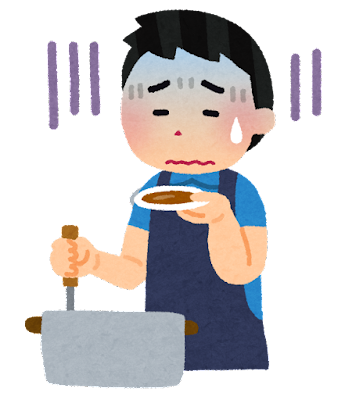 料理を失敗した人のイラスト(男性)