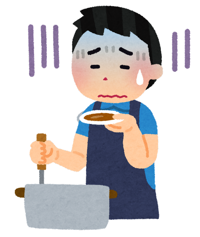 料理を失敗した人のイラスト(男性)   かわいいフリー素材集 いらすとや