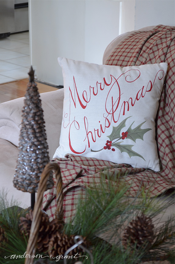 Hand painted DIY Christmas pillow | www.andersonandgrant.com
