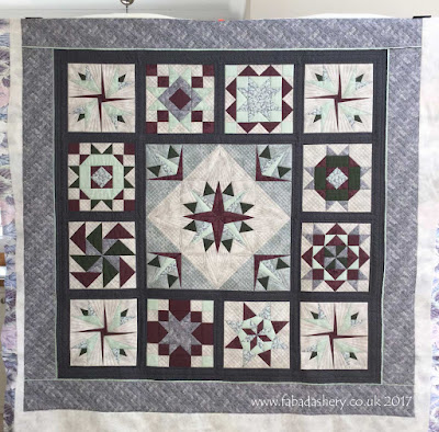 Foundation Pieced Sampler Quilt quilted by Fabadashery Frances Meredith