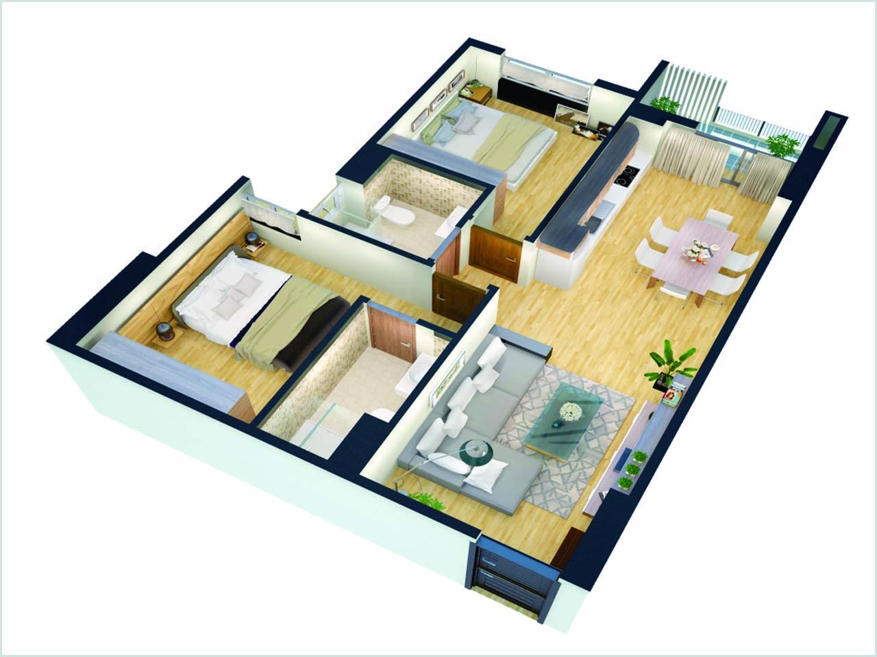 Thiết kế căn 2 phòng ngủ điển hình Tòa B 176 Định Công