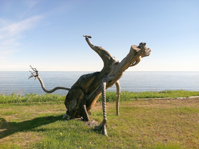Driftwood sculpture, Sainte-Anne-des Monts, Gaspé, Quebec