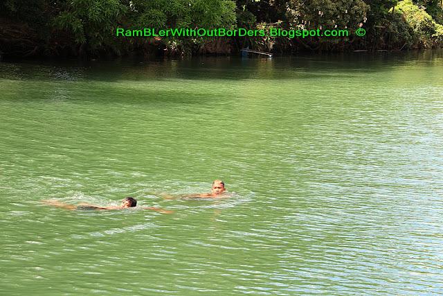Kids swimming, Loboc River, Bohol, Philippines