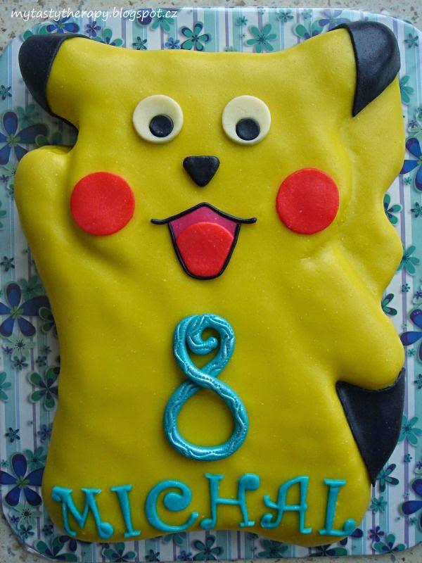 3D potahovaný dort ve tvaru postavičky Pikachu
