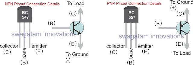 BC547, BC557 pinout details